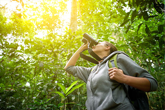 Female birder looking through binoculars
